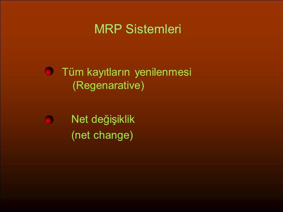 MRP Sistemleri Tüm kayıtların yenilenmesi (Regenarative) Net değişiklik (net change)