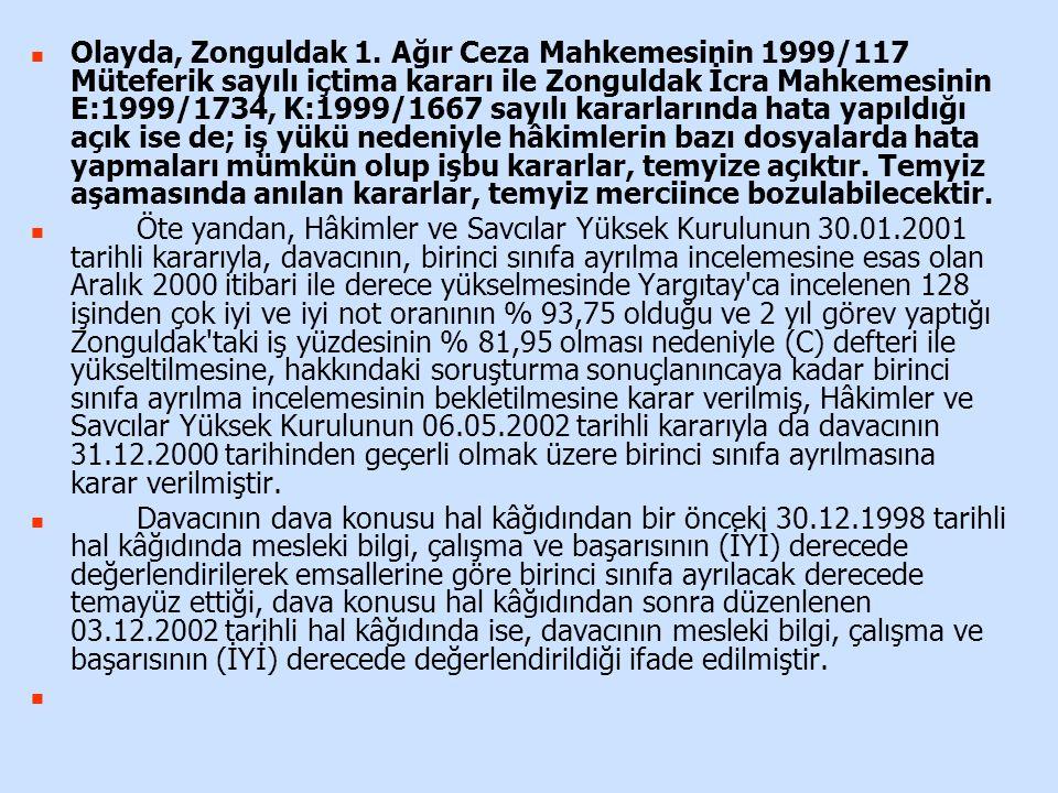 Olayda, Zonguldak 1. Ağır Ceza Mahkemesinin 1999/117 Müteferik sayılı içtima kararı ile Zonguldak İcra Mahkemesinin E:1999/1734, K:1999/1667 sayılı ka
