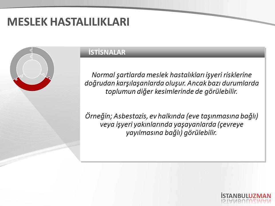 İSTİSNALAR Normal şartlarda meslek hastalıkları işyeri risklerine doğrudan karşılaşanlarda oluşur.