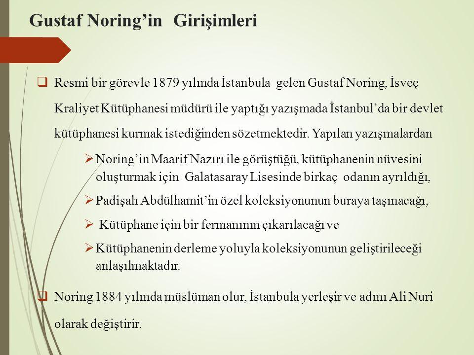Gustaf Noring'in Girişimleri  Resmi bir görevle 1879 yılında İstanbula gelen Gustaf Noring, İsveç Kraliyet Kütüphanesi müdürü ile yaptığı yazışmada İ