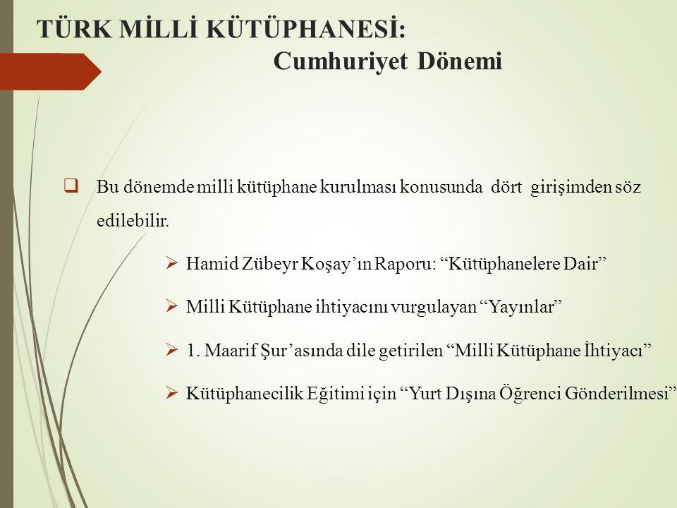 TÜRK MİLLİ KÜTÜPHANESİ: Cumhuriyet Dönemi  Bu dönemde milli kütüphane kurulması konusunda dört girişimden söz edilebilir.  Hamid Zübeyr Koşay'ın Rap