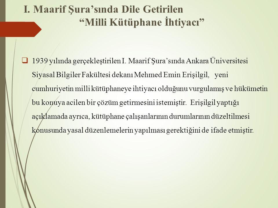"""I. Maarif Şura'sında Dile Getirilen """"Milli Kütüphane İhtiyacı""""  1939 yılında gerçekleştirilen I. Maarif Şura'sında Ankara Üniversitesi Siyasal Bilgil"""