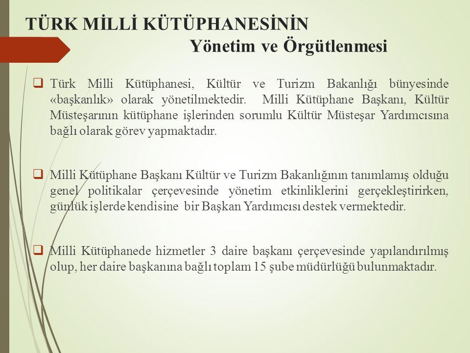 TÜRK MİLLİ KÜTÜPHANESİNİN Yönetim ve Örgütlenmesi  Türk Milli Kütüphanesi, Kültür ve Turizm Bakanlığı bünyesinde «başkanlık» olarak yönetilmektedir.