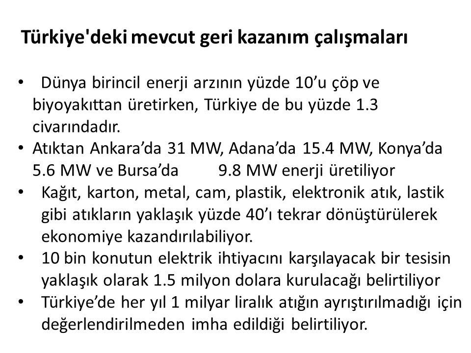 Dünya birincil enerji arzının yüzde 10'u çöp ve biyoyakıttan üretirken, Türkiye de bu yüzde 1.3 civarındadır.