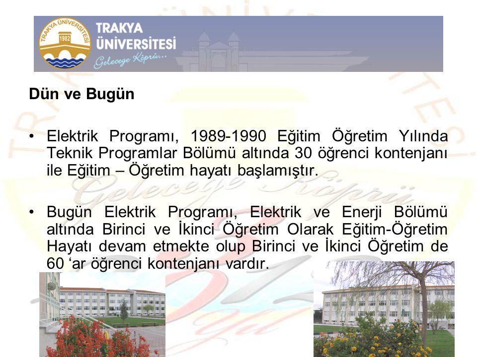 Dün ve Bugün Elektrik Programı, 1989-1990 Eğitim Öğretim Yılında Teknik Programlar Bölümü altında 30 öğrenci kontenjanı ile Eğitim – Öğretim hayatı ba