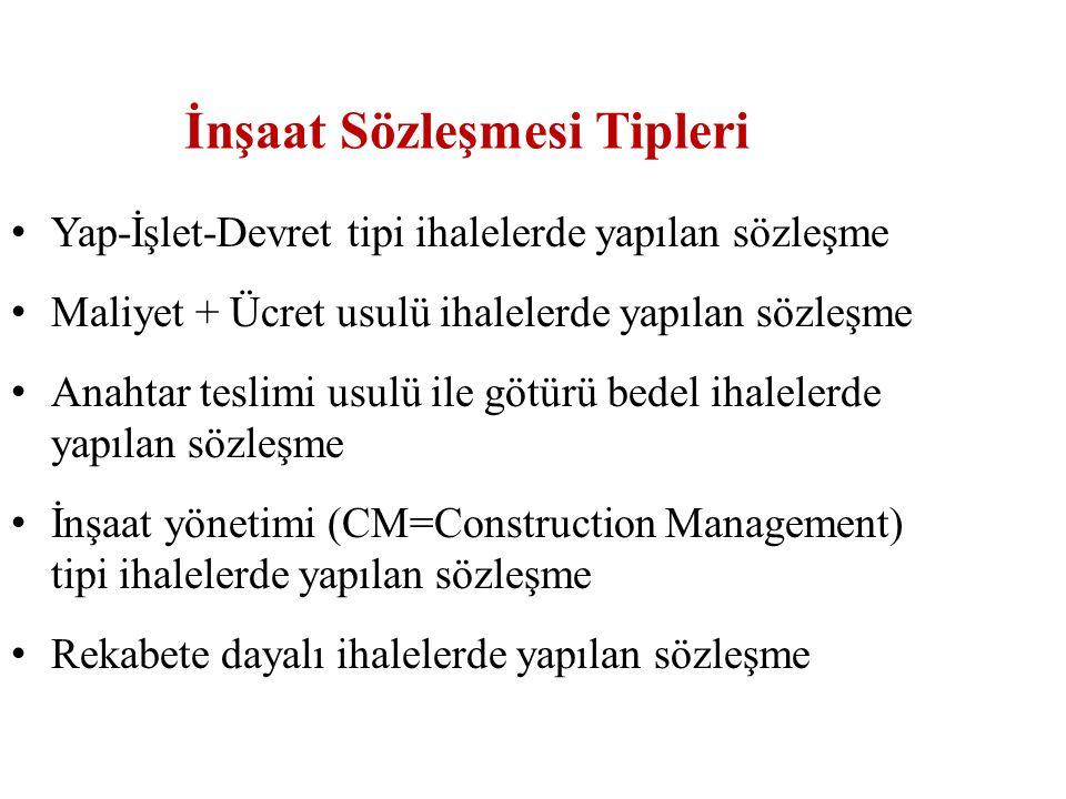 İnşaat Sözleşmesi Tipleri Yap-İşlet-Devret tipi ihalelerde yapılan sözleşme Maliyet + Ücret usulü ihalelerde yapılan sözleşme Anahtar teslimi usulü il