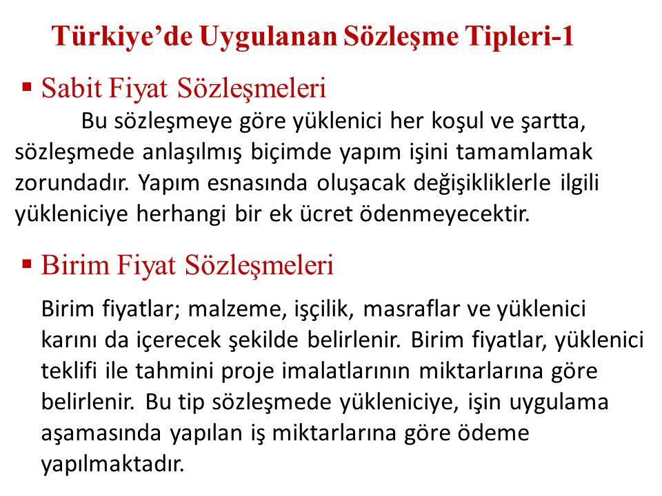 Türkiye'de Uygulanan Sözleşme Tipleri-1  Sabit Fiyat Sözleşmeleri Bu sözleşmeye göre yüklenici her koşul ve şartta, sözleşmede anlaşılmış biçimde yap