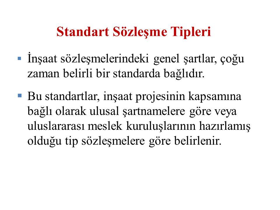 Standart Sözleşme Tipleri  İnşaat sözleşmelerindeki genel şartlar, çoğu zaman belirli bir standarda bağlıdır.  Bu standartlar, inşaat projesinin kap