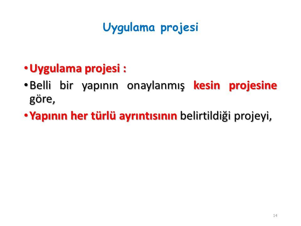 Uygulama projesi Uygulama projesi : Uygulama projesi : Belli bir yapının onaylanmış kesin projesine göre, Belli bir yapının onaylanmış kesin projesine