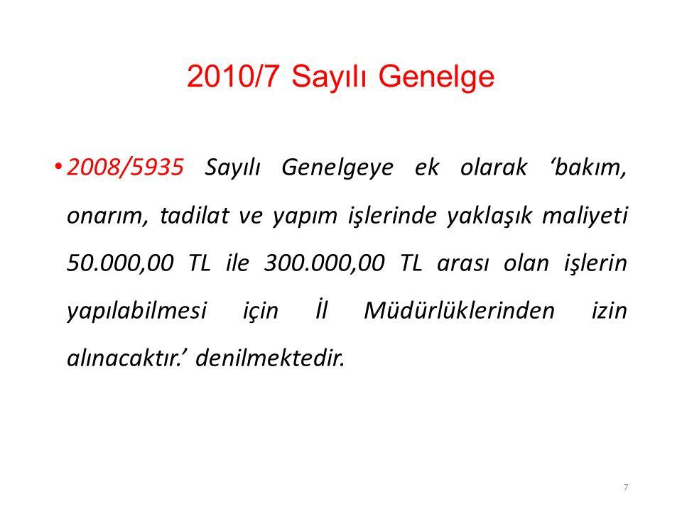 2010/7 Sayılı Genelge 2008/5935 Sayılı Genelgeye ek olarak 'bakım, onarım, tadilat ve yapım işlerinde yaklaşık maliyeti 50.000,00 TL ile 300.000,00 TL