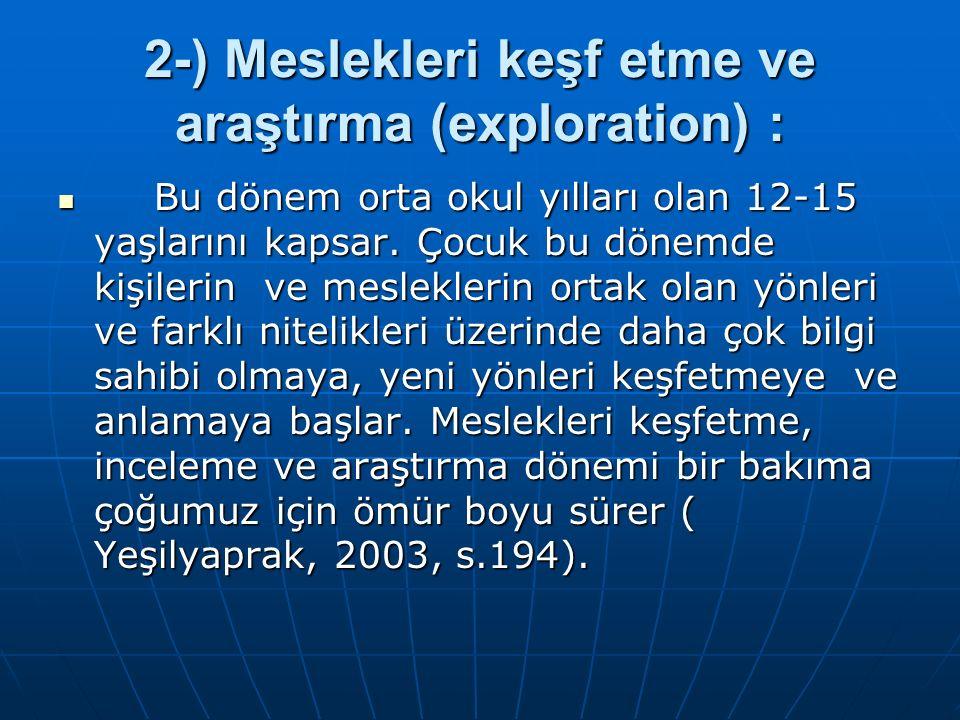 2-) Meslekleri keşf etme ve araştırma (exploration) : Bu dönem orta okul yılları olan 12-15 yaşlarını kapsar. Çocuk bu dönemde kişilerin ve meslekleri