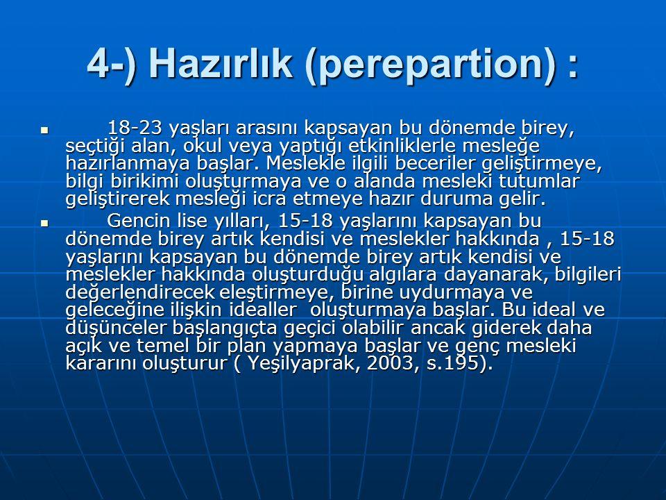 4-) Hazırlık (perepartion) : 18-23 yaşları arasını kapsayan bu dönemde birey, seçtiği alan, okul veya yaptığı etkinliklerle mesleğe hazırlanmaya başla