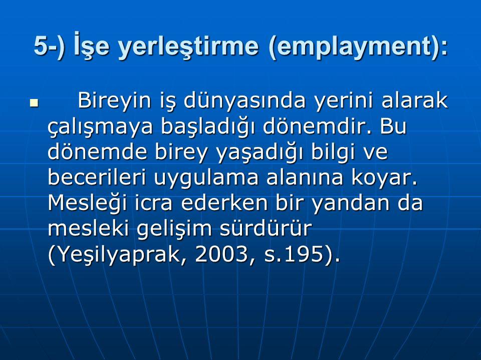 5-) İşe yerleştirme (emplayment): Bireyin iş dünyasında yerini alarak çalışmaya başladığı dönemdir. Bu dönemde birey yaşadığı bilgi ve becerileri uygu