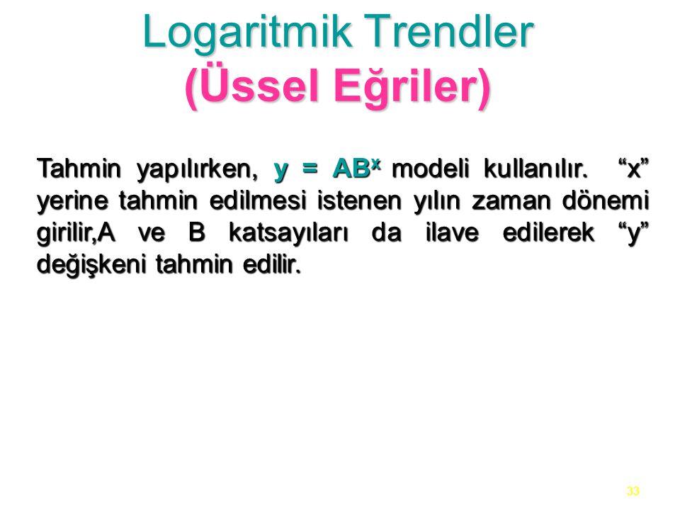 """33 Logaritmik Trendler (Üssel Eğriler) Tahmin yapılırken, y = AB x modeli kullanılır. """"x"""" yerine tahmin edilmesi istenen yılın zaman dönemi girilir,A"""