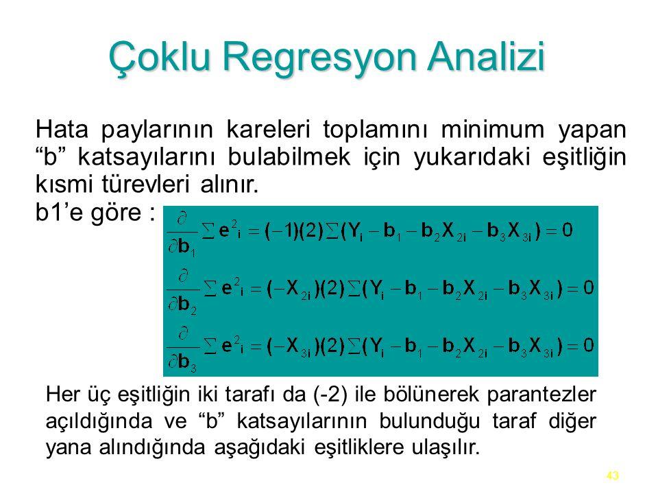 43 Çoklu Regresyon Analizi Hata paylarının kareleri toplamını minimum yapan b katsayılarını bulabilmek için yukarıdaki eşitliğin kısmi türevleri alınır.