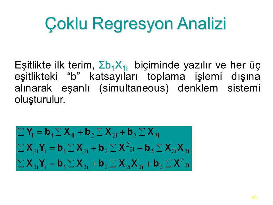 45 Çoklu Regresyon Analizi Σb 1 X 1i Eşitlikte ilk terim, Σb 1 X 1i biçiminde yazılır ve her üç eşitlikteki b katsayıları toplama işlemi dışına alınarak eşanlı (simultaneous) denklem sistemi oluşturulur.