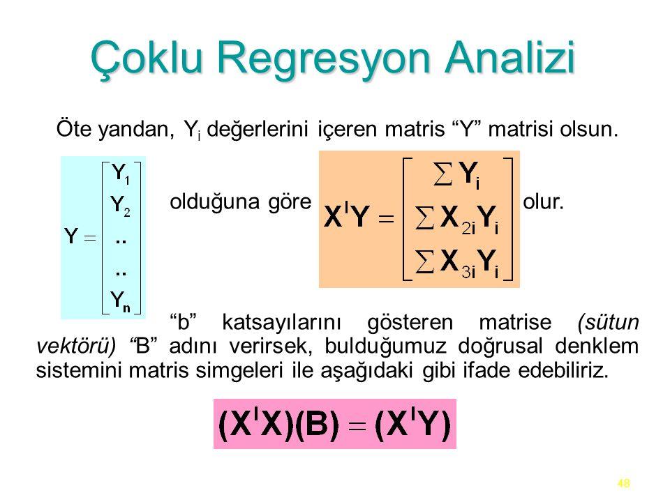 """48 Çoklu Regresyon Analizi Öte yandan, Y i değerlerini içeren matris """"Y"""" matrisi olsun. olduğuna göre olur. """"b"""" katsayılarını gösteren matrise (sütun"""