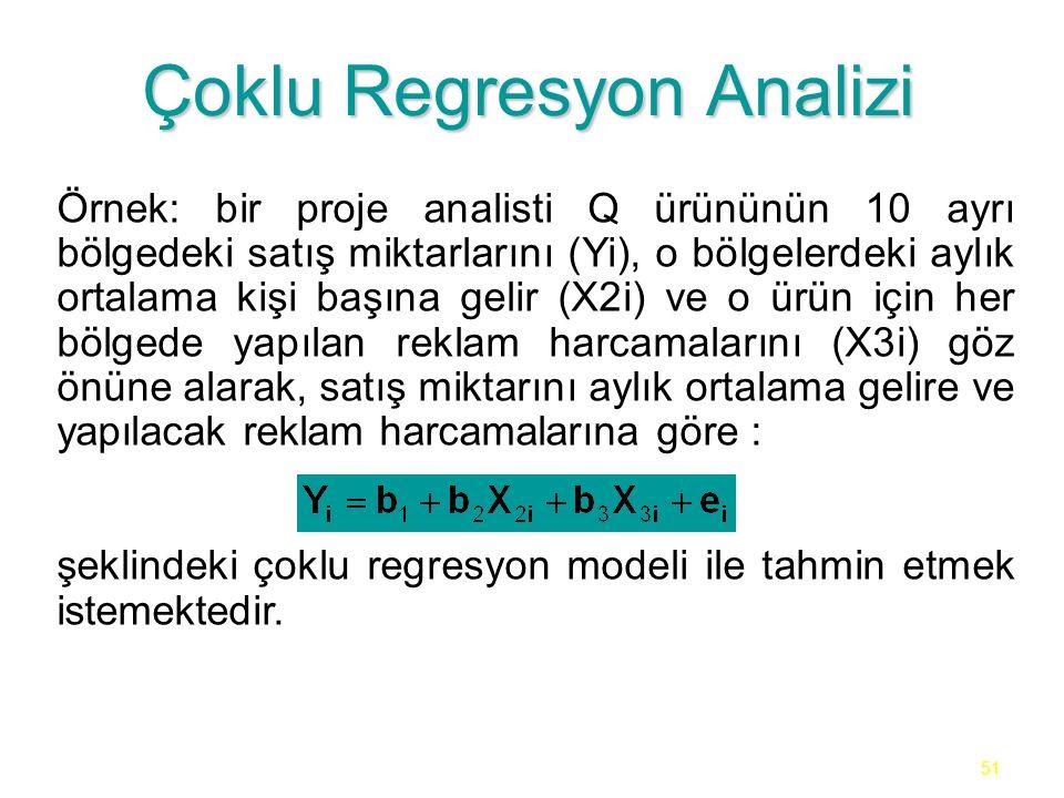 51 Çoklu Regresyon Analizi Örnek: bir proje analisti Q ürününün 10 ayrı bölgedeki satış miktarlarını (Yi), o bölgelerdeki aylık ortalama kişi başına gelir (X2i) ve o ürün için her bölgede yapılan reklam harcamalarını (X3i) göz önüne alarak, satış miktarını aylık ortalama gelire ve yapılacak reklam harcamalarına göre : şeklindeki çoklu regresyon modeli ile tahmin etmek istemektedir.