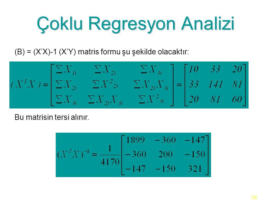 53 Çoklu Regresyon Analizi (B) = (X'X)-1 (X'Y) matris formu şu şekilde olacaktır: Bu matrisin tersi alınır.