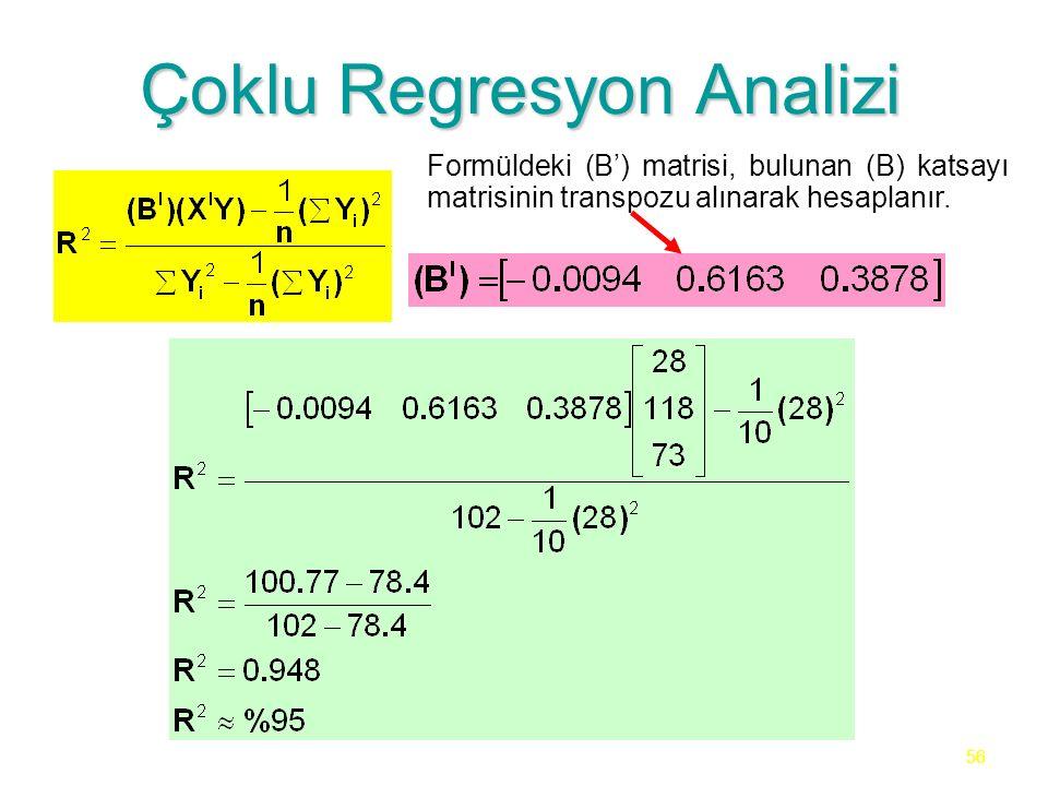 56 Çoklu Regresyon Analizi Formüldeki (B') matrisi, bulunan (B) katsayı matrisinin transpozu alınarak hesaplanır.