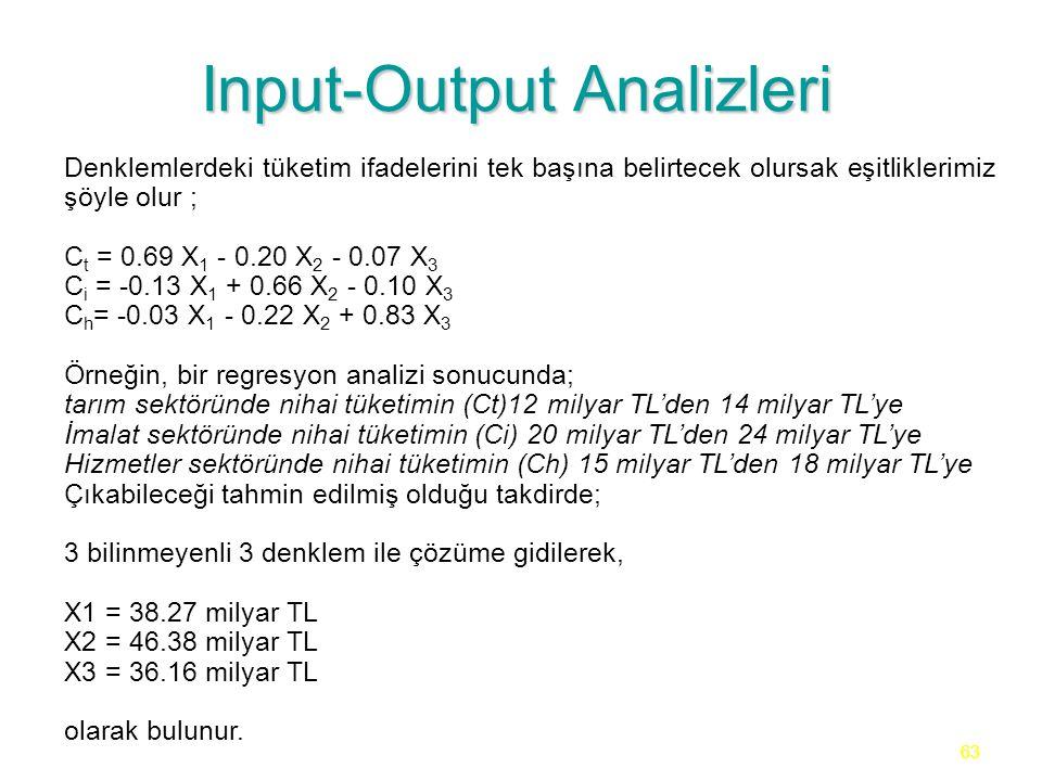 63 Input-Output Analizleri Denklemlerdeki tüketim ifadelerini tek başına belirtecek olursak eşitliklerimiz şöyle olur ; C t = 0.69 X 1 - 0.20 X 2 - 0.07 X 3 C i = -0.13 X 1 + 0.66 X 2 - 0.10 X 3 C h = -0.03 X 1 - 0.22 X 2 + 0.83 X 3 Örneğin, bir regresyon analizi sonucunda; tarım sektöründe nihai tüketimin (Ct)12 milyar TL'den 14 milyar TL'ye İmalat sektöründe nihai tüketimin (Ci) 20 milyar TL'den 24 milyar TL'ye Hizmetler sektöründe nihai tüketimin (Ch) 15 milyar TL'den 18 milyar TL'ye Çıkabileceği tahmin edilmiş olduğu takdirde; 3 bilinmeyenli 3 denklem ile çözüme gidilerek, X1 = 38.27 milyar TL X2 = 46.38 milyar TL X3 = 36.16 milyar TL olarak bulunur.