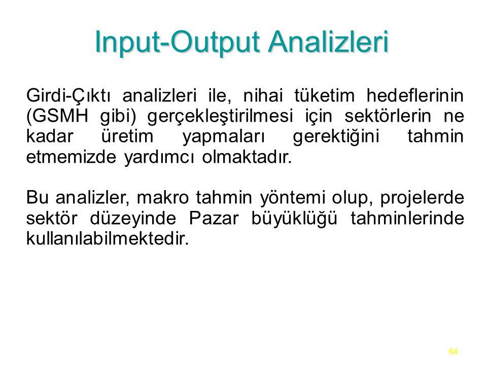 64 Input-Output Analizleri Girdi-Çıktı analizleri ile, nihai tüketim hedeflerinin (GSMH gibi) gerçekleştirilmesi için sektörlerin ne kadar üretim yapm