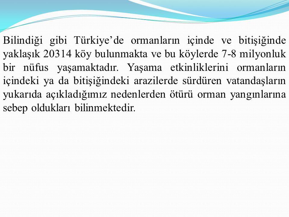 Bilindiği gibi Türkiye'de ormanların içinde ve bitişiğinde yaklaşık 20314 köy bulunmakta ve bu köylerde 7-8 milyonluk bir nüfus yaşamaktadır.