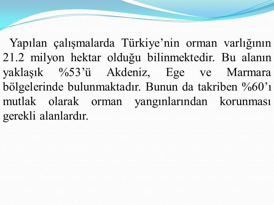 Yapılan çalışmalarda Türkiye'nin orman varlığının 21.2 milyon hektar olduğu bilinmektedir.