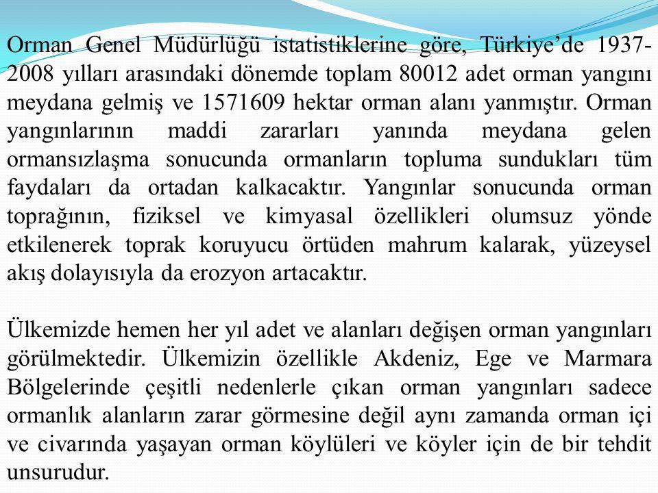 Orman Genel Müdürlüğü istatistiklerine göre, Türkiye'de 1937- 2008 yılları arasındaki dönemde toplam 80012 adet orman yangını meydana gelmiş ve 1571609 hektar orman alanı yanmıştır.