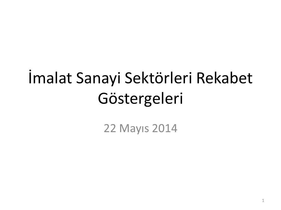 İmalat Sanayi Sektörleri Rekabet Göstergeleri 22 Mayıs 2014 1