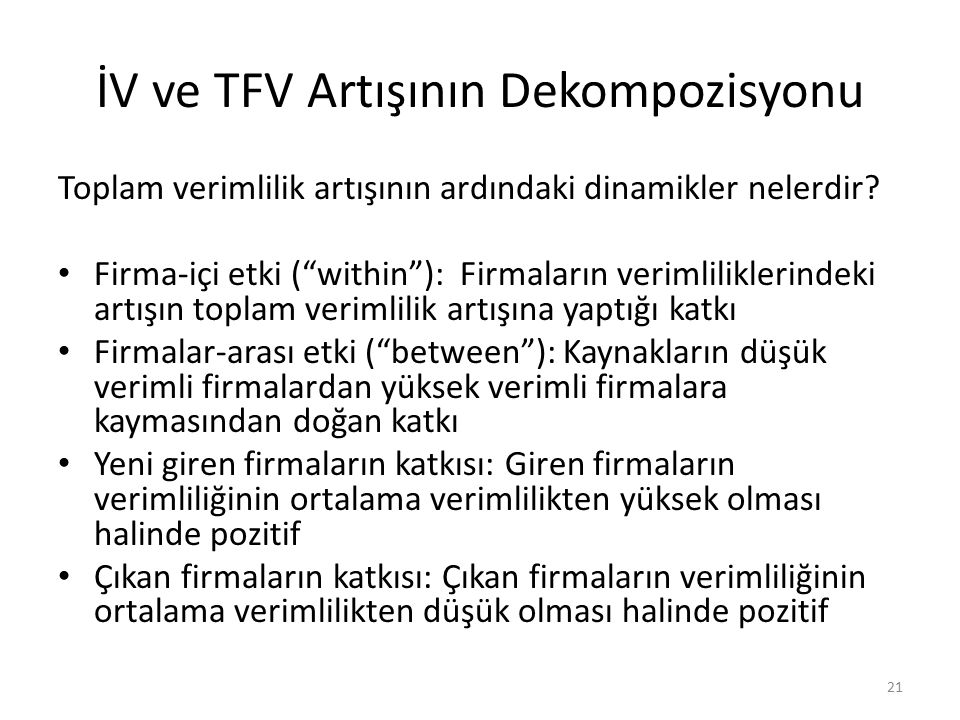 İV ve TFV Artışının Dekompozisyonu Toplam verimlilik artışının ardındaki dinamikler nelerdir.