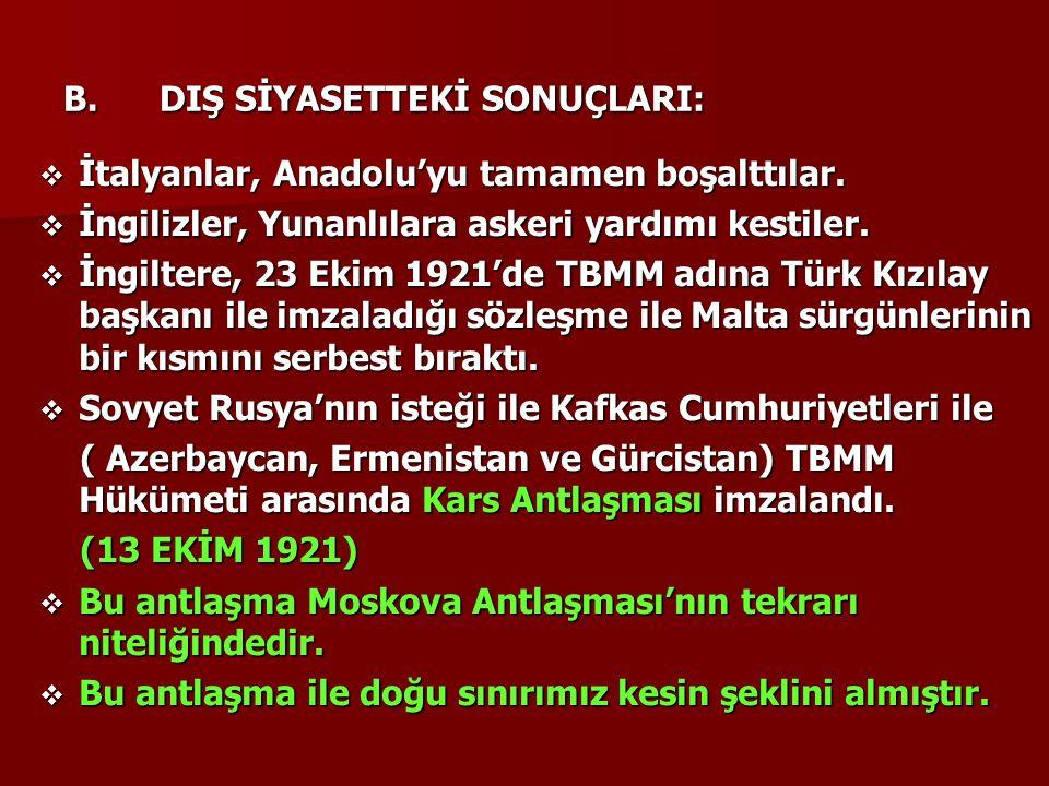 B.DIŞ SİYASETTEKİ SONUÇLARI:  İtalyanlar, Anadolu'yu tamamen boşalttılar.