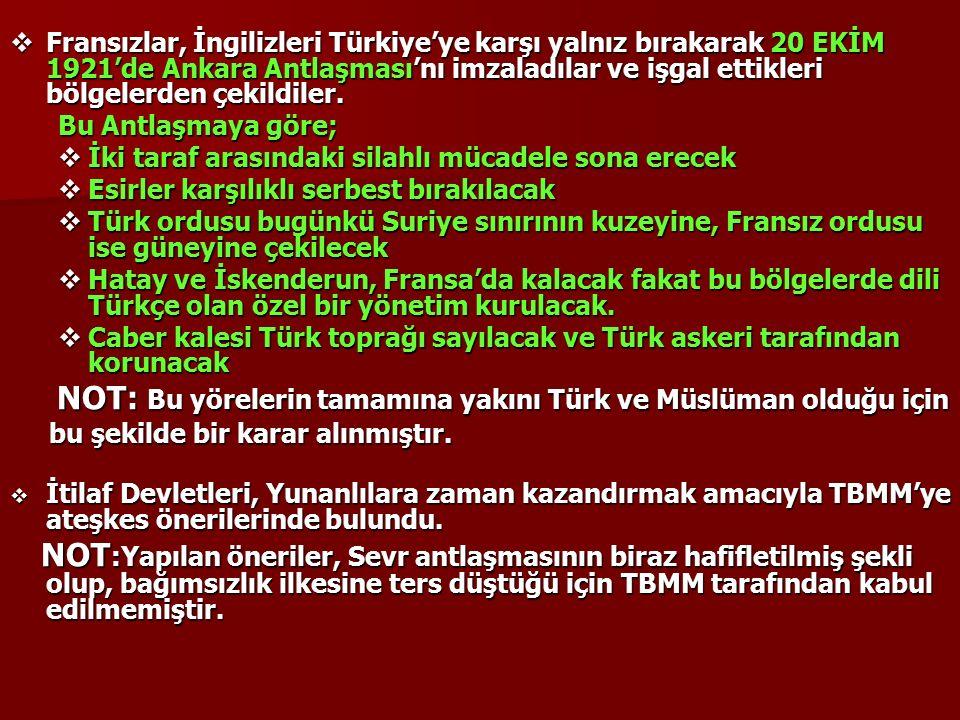  Fransızlar, İngilizleri Türkiye'ye karşı yalnız bırakarak 20 EKİM 1921'de Ankara Antlaşması'nı imzaladılar ve işgal ettikleri bölgelerden çekildiler.