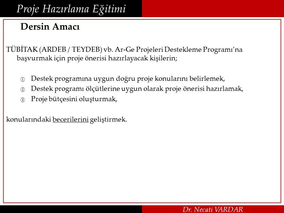 Proje Hazırlama Eğitimi Dr. Necati VARDAR Dersin Amacı TÜBİTAK (ARDEB / TEYDEB) vb. Ar-Ge Projeleri Destekleme Programı'na başvurmak için proje öneris