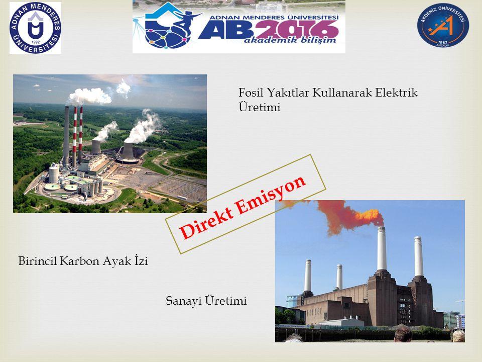 Direkt Emisyon Birincil Karbon Ayak İzi Fosil Yakıtlar Kullanarak Elektrik Üretimi Sanayi Üretimi