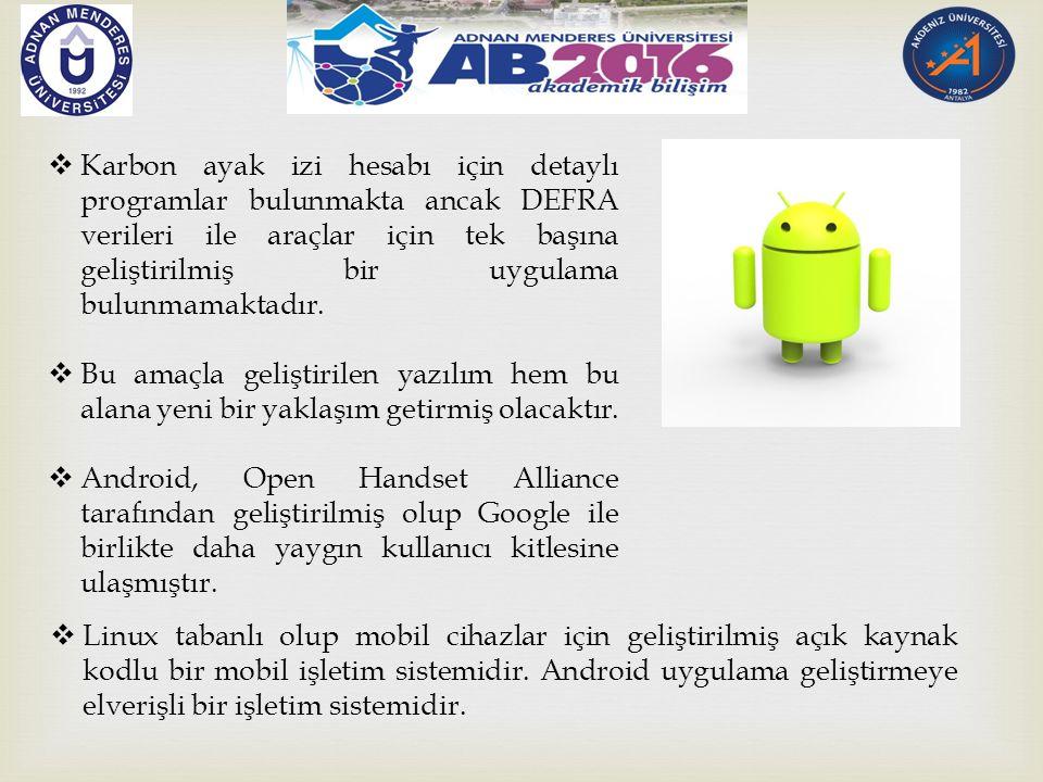  Geliştirilen uygulama Android 4.4 (API 19) sürümüyle geliştirilmiştir.