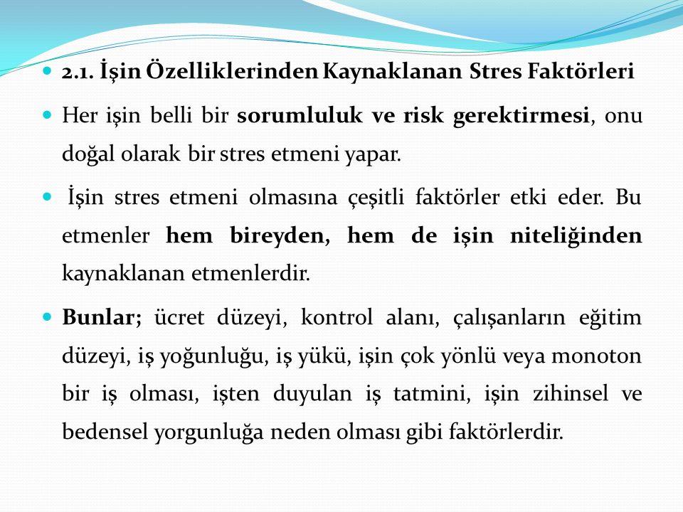 2.1. İşin Özelliklerinden Kaynaklanan Stres Faktörleri Her işin belli bir sorumluluk ve risk gerektirmesi, onu doğal olarak bir stres etmeni yapar. İş
