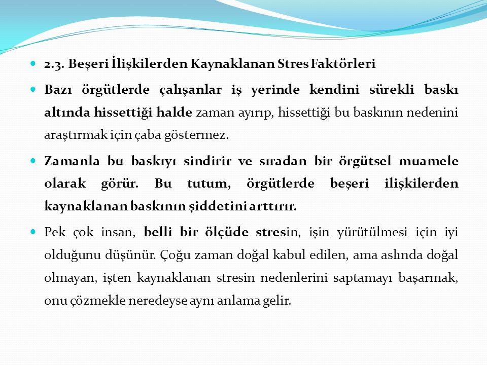 2.3. Beşeri İlişkilerden Kaynaklanan Stres Faktörleri Bazı örgütlerde çalışanlar iş yerinde kendini sürekli baskı altında hissettiği halde zaman ayırı