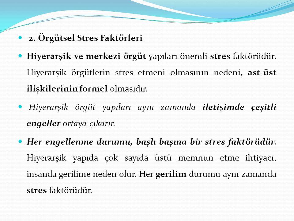 2. Örgütsel Stres Faktörleri Hiyerarşik ve merkezi örgüt yapıları önemli stres faktörüdür. Hiyerarşik örgütlerin stres etmeni olmasının nedeni, ast-üs