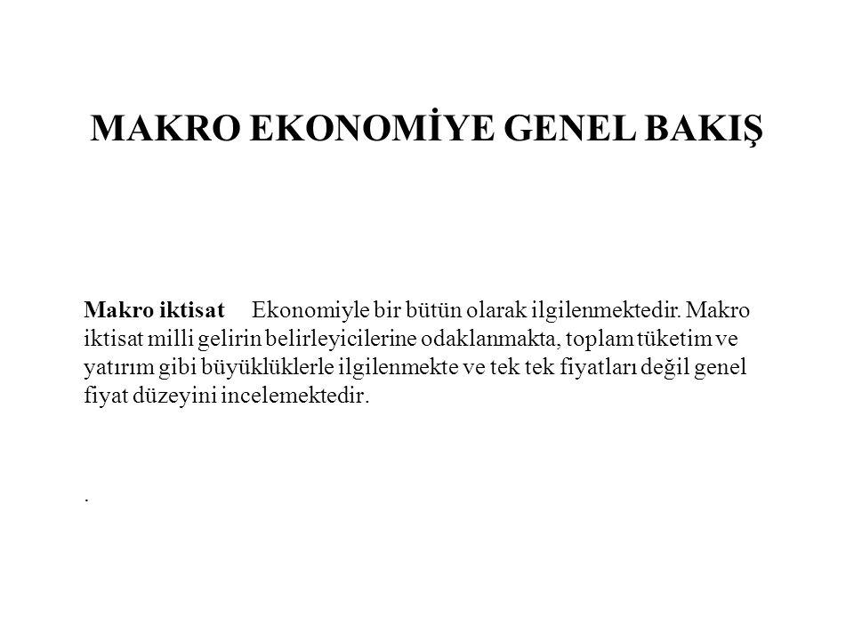 MAKRO EKONOMİYE GENEL BAKIŞ Makro iktisat Ekonomiyle bir bütün olarak ilgilenmektedir. Makro iktisat milli gelirin belirleyicilerine odaklanmakta, top