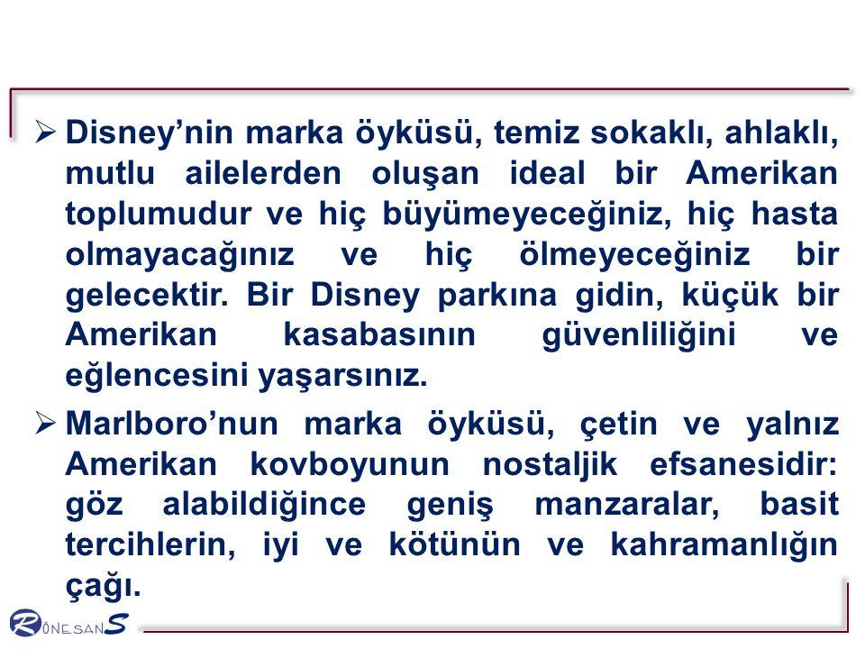  Disney'nin marka öyküsü, temiz sokaklı, ahlaklı, mutlu ailelerden oluşan ideal bir Amerikan toplumudur ve hiç büyümeyeceğiniz, hiç hasta olmayacağınız ve hiç ölmeyeceğiniz bir gelecektir.