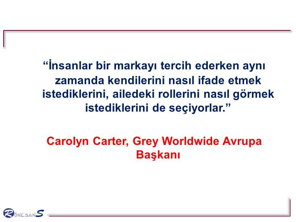 İnsanlar bir markayı tercih ederken aynı zamanda kendilerini nasıl ifade etmek istediklerini, ailedeki rollerini nasıl görmek istediklerini de seçiyorlar. Carolyn Carter, Grey Worldwide Avrupa Başkanı