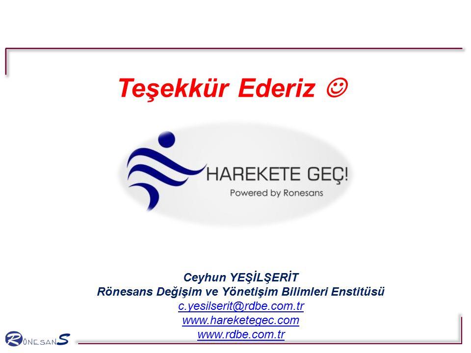 Teşekkür Ederiz Ceyhun YEŞİLŞERİT Rönesans Değişim ve Yönetişim Bilimleri Enstitüsü c.yesilserit@rdbe.com.tr www.hareketegec.com www.rdbe.com.tr c.yes