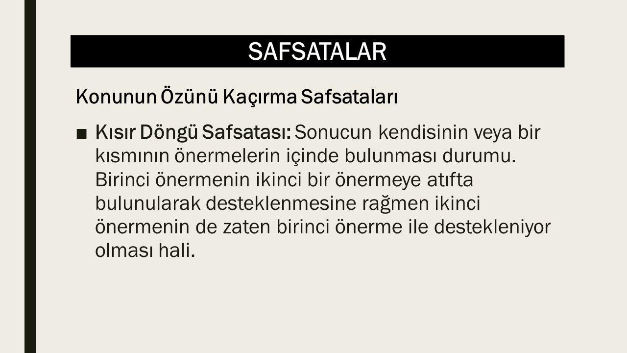 SAFSATALAR ■Kısır Döngü Safsatası: Sonucun kendisinin veya bir kısmının önermelerin içinde bulunması durumu.