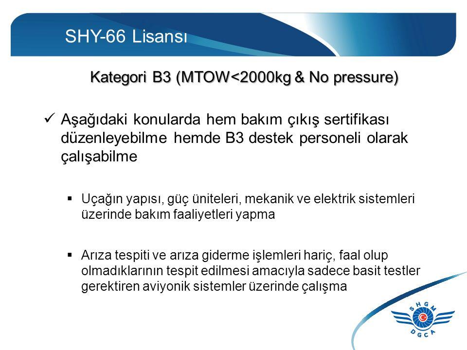 SHY-66 Lisansı Kategori B3 (MTOW<2000kg & No pressure) Aşağıdaki konularda hem bakım çıkış sertifikası düzenleyebilme hemde B3 destek personeli olarak çalışabilme  Uçağın yapısı, güç üniteleri, mekanik ve elektrik sistemleri üzerinde bakım faaliyetleri yapma  Arıza tespiti ve arıza giderme işlemleri hariç, faal olup olmadıklarının tespit edilmesi amacıyla sadece basit testler gerektiren aviyonik sistemler üzerinde çalışma
