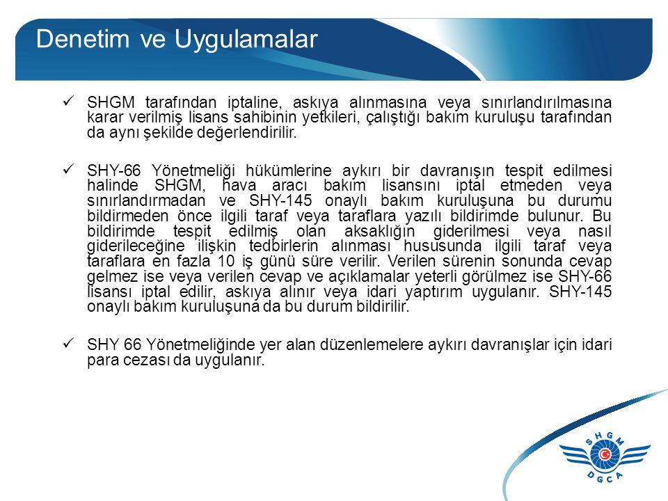 Denetim ve Uygulamalar SHGM tarafından iptaline, askıya alınmasına veya sınırlandırılmasına karar verilmiş lisans sahibinin yetkileri, çalıştığı bakım kuruluşu tarafından da aynı şekilde değerlendirilir.