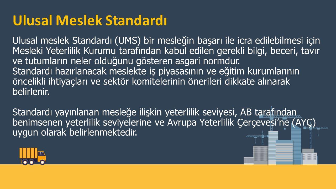 Ulusal Meslek Standardı Ulusal meslek Standardı (UMS) bir mesleğin başarı ile icra edilebilmesi için Mesleki Yeterlilik Kurumu tarafından kabul edilen gerekli bilgi, beceri, tavır ve tutumların neler olduğunu gösteren asgari normdur.