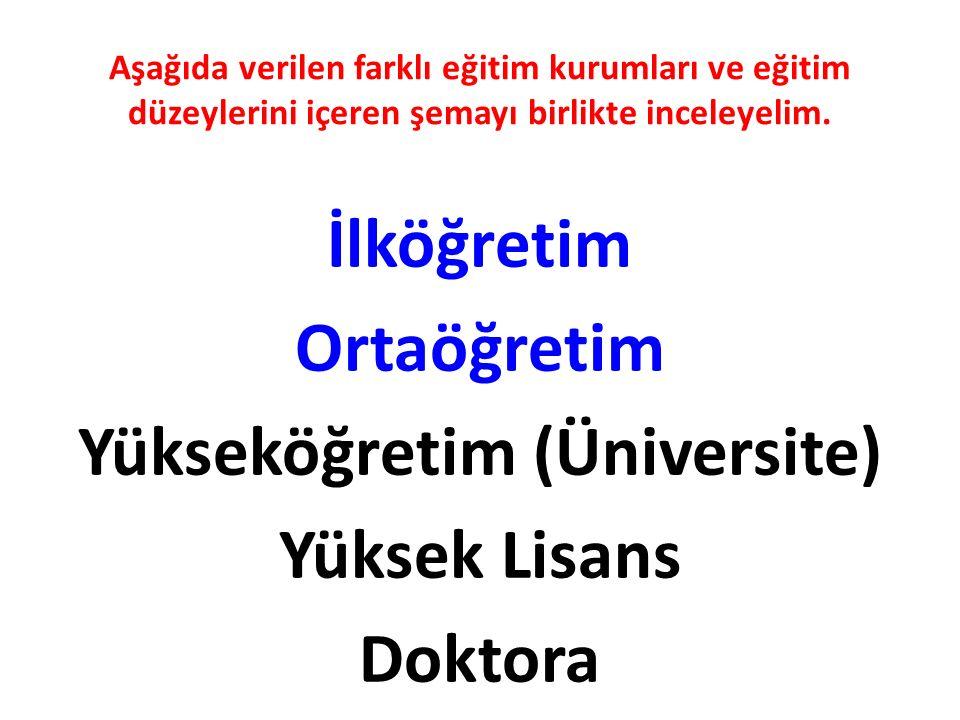 Aşağıda verilen farklı eğitim kurumları ve eğitim düzeylerini içeren şemayı birlikte inceleyelim.
