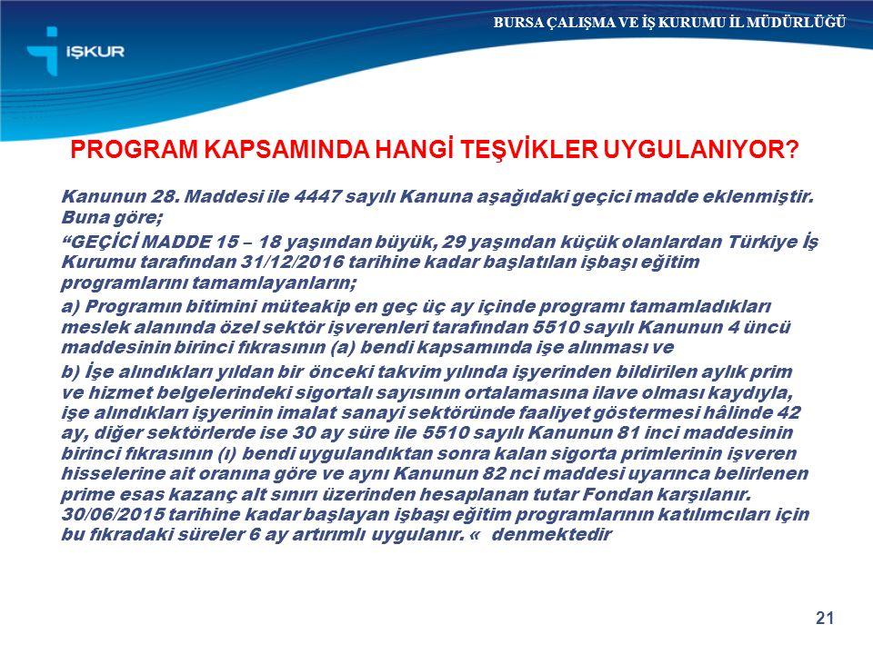 PROGRAM KAPSAMINDA HANGİ TEŞVİKLER UYGULANIYOR.Kanunun 28.