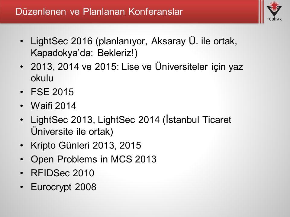 TÜBİTAK Düzenlenen ve Planlanan Konferanslar LightSec 2016 (planlanıyor, Aksaray Ü.